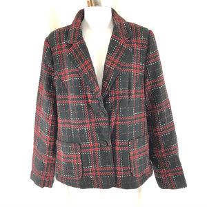 Fashion Bug Womens Blazer Jacket Tweed Plaid 14